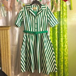 Green and White Lindy Bop Dress 💚
